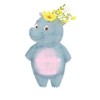 Ippopotamo del bambino del fumetto con la corona isolata