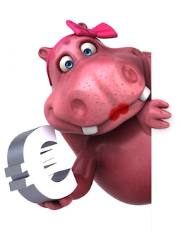 Ippopotamo rosa con l'euro segno