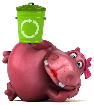 Ippopotamo rosa - illustrazione 3d