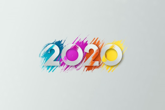Iscrizione 2020 di nuovo anno su uno sfondo chiaro.