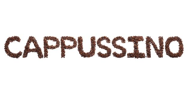 Iscrizione cappussino dell'alfabeto inglese di fave di cacao tostate. modello del caffè fatto dai chicchi di caffè.