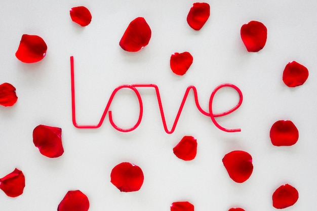 Iscrizione di amore con petali di rosa sul tavolo