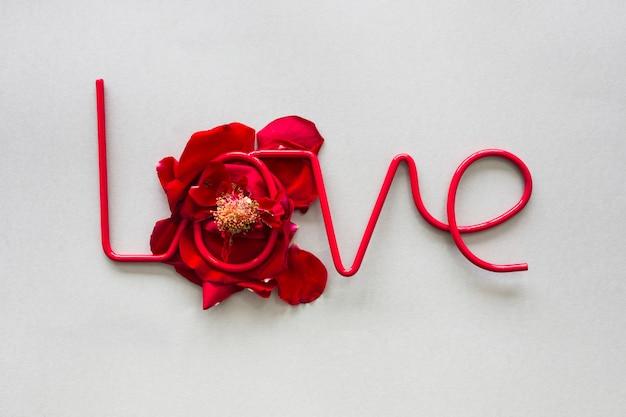 Iscrizione di amore sui petali di rosa rossa sul tavolo