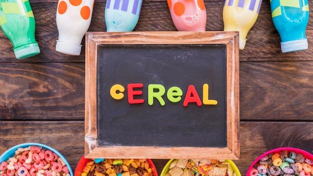 Iscrizione di cereali sulla vecchia lavagna