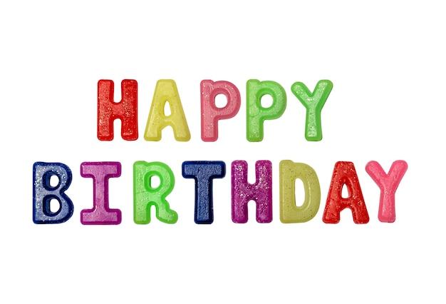 Iscrizione di lettere di buon compleanno multicolore iscrizione su spazio bianco