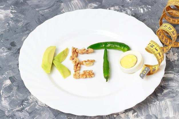 Iscrizione keto fatta di noci, uova e avocado. concetto di dieta chetogenica