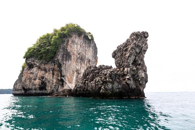 Isola a forma di tartaruga e lo sfondo bianco fronte mare