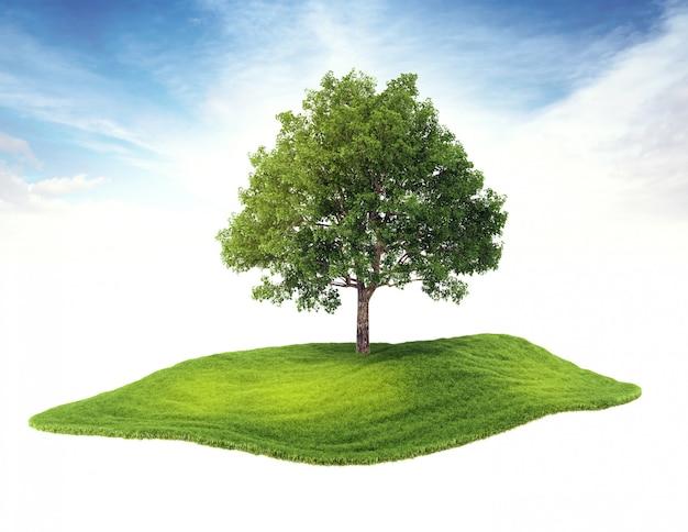 Isola con albero fluttuante nell'aria