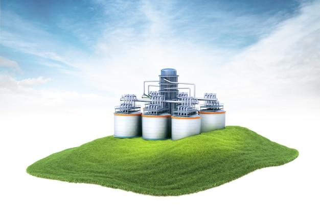 Isola con impianto di raffineria di petrolio fluttuante nell'aria