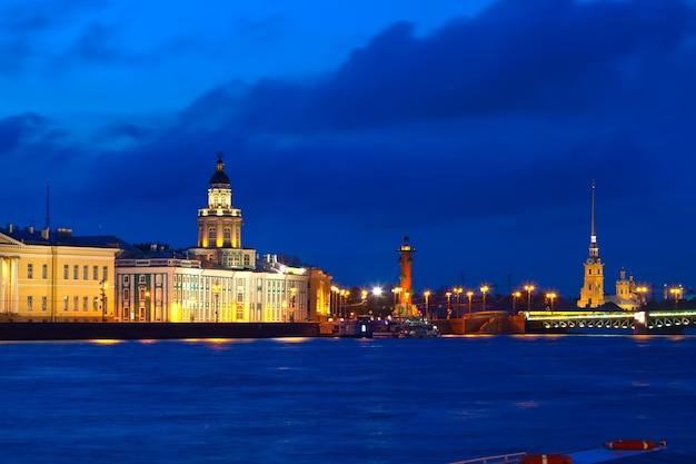 Isola di vasilyevsky durante la notte