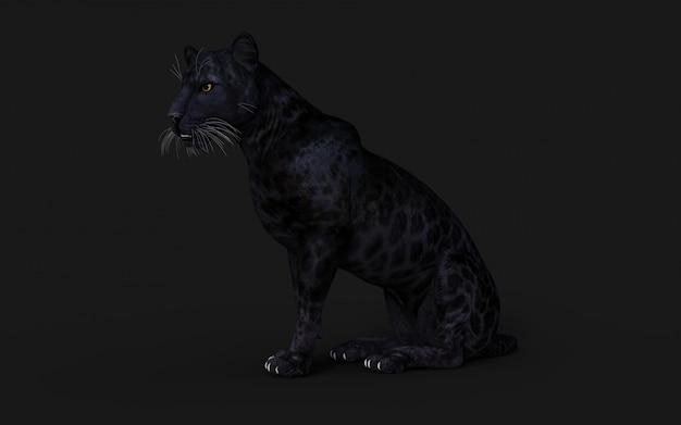 Isolato della pantera nera dell'illustrazione 3d sul nero
