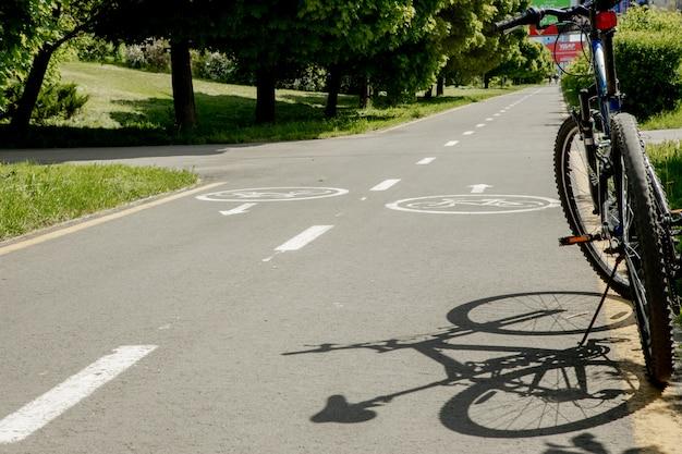 Ivano-frankivsk, 29 maggio 2020: la mountain bike si trova nel parco sulla pista ciclabile.
