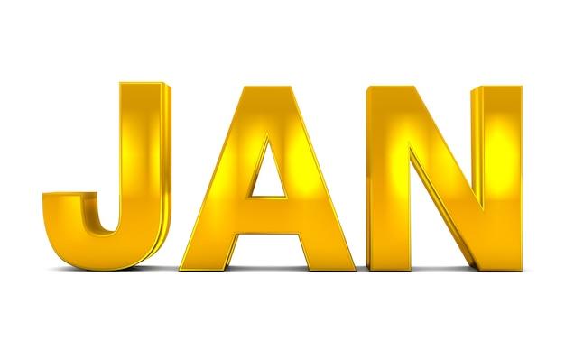 Jan gold 3d text abbreviazione del mese di gennaio isolata su sfondo bianco. rendering 3d.