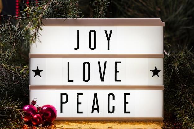 Joy love peace lettering