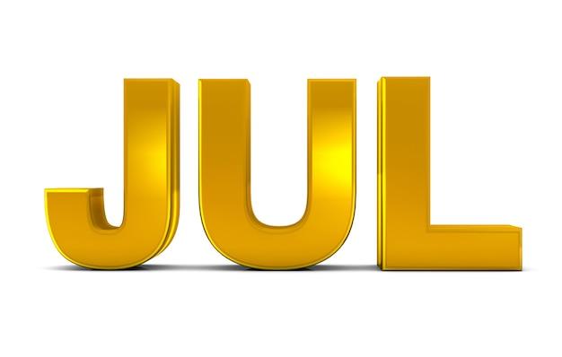 Jul gold 3d text abbreviazione del mese di luglio isolata su sfondo bianco. rendering 3d.