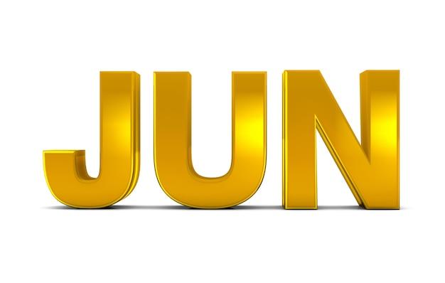 Jun gold 3d text abbreviazione del mese di giugno isolata su sfondo bianco. rendering 3d.