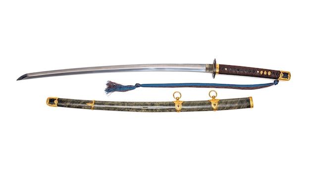 'kai gunto': japanese marine sword from world war 2 con fodero avvolto da pelle di raggio