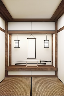 Katana e cornice in camera stile giapponese. rendering 3d