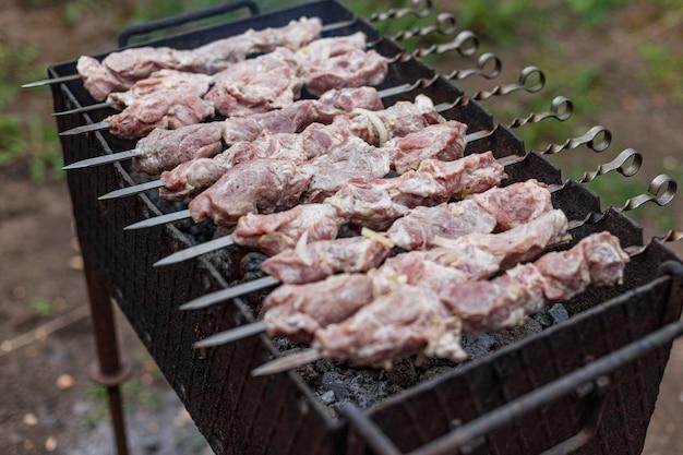Kebab crudo cotto alla griglia, all'aperto