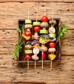 Kebab, verdure allo spiedo