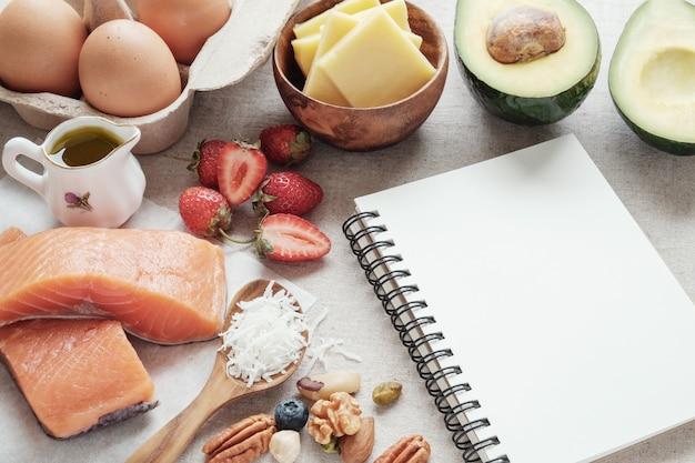 Keto, dieta chetogenica, basso contenuto di carboidrati, alto contenuto di grassi, cibo sano