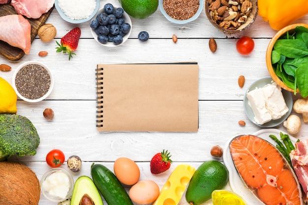 Keto o dieta chetogenica, basso contenuto di carboidrati, alto contenuto di grassi. cibo salutare. vista dall'alto