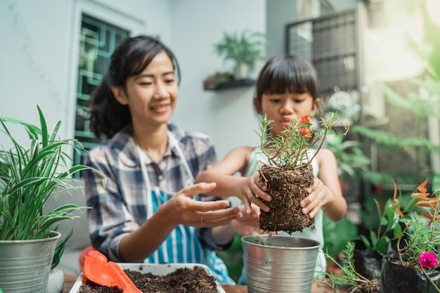 Kid impara a fare giardinaggio piantando alcune piante