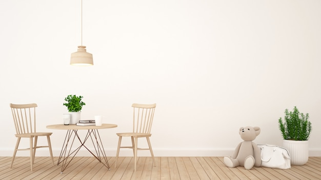 Kidroom or cafe design minimal - rendering 3d