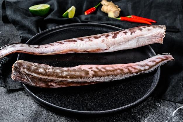 King klip crudo, pesce congrio con ingredienti da cucina, lime, peperoncino allo zenzero.