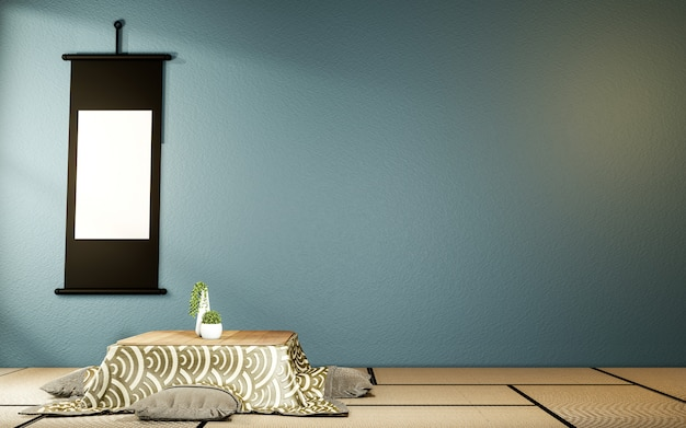 Kotatsu tavolino basso e cuscino ontatami mat, camera blu scuro giappone e cornice mock up. 3d rednering