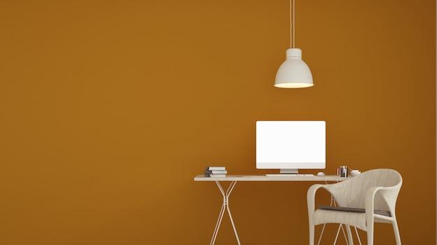 L'abitare minimal in appartamento e sfondo in stile 3d rendering