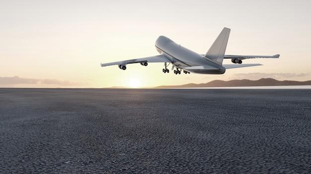 L'aereo 3d decolla al tramonto, 3d rende il concetto per fare pubblicità.