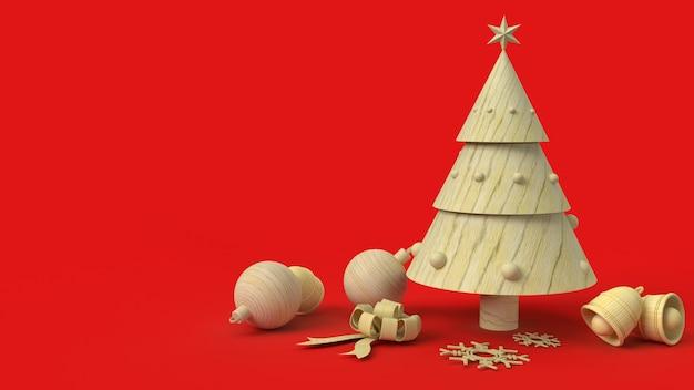 L'albero di natale di legno sulla rappresentazione rossa del fondo 3d