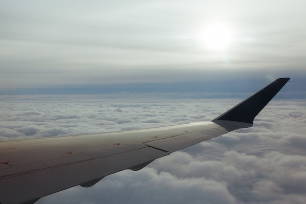 L'ambiente di panorama del cielo dell'ala dell'aeroplano si appanna la terra scenica del tempo