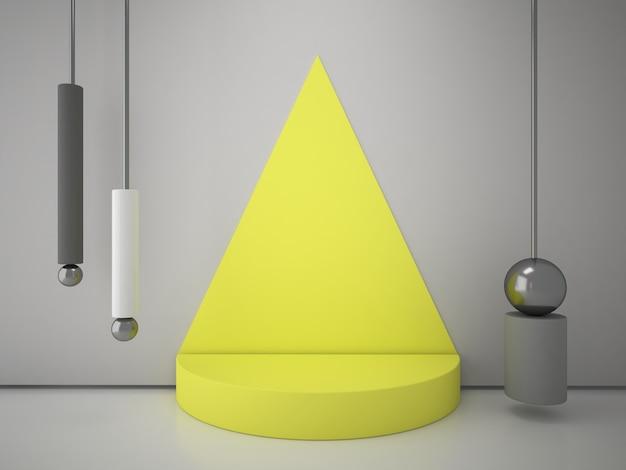 L'attenzione sul podio è posta da un triangolo di corallo sul muro. scena minimale con forme geometriche.