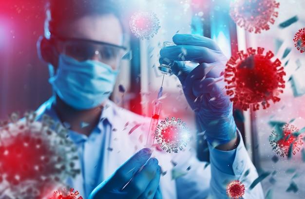 L'erba medica con maschera funziona su una soluzione circondata da coronavirus