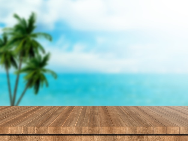 L'estate del modello vaga 3d rende la tavola di legno che guarda fuori il paesaggio tropicale del mare