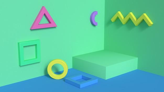 L'estratto 3d con 3d minimo di scena variopinta d'angolo stabilito della parete di forma geometrica rende