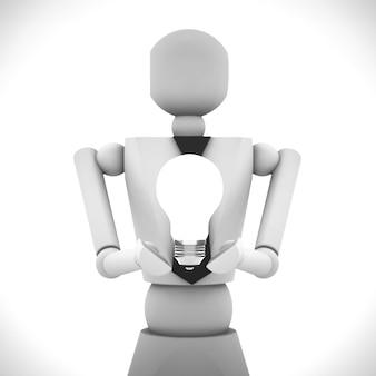 L'illustrazione 3d della bambola di legno di affari
