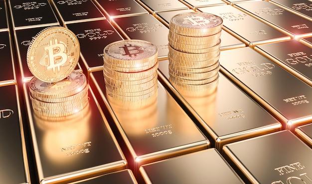 L'immagine 3d rende delle monete del bitcoin sulle barre di oro