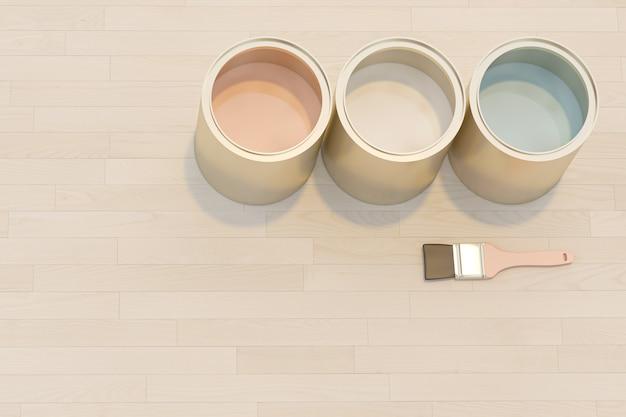 L'immagine 3d rende di una serie di barattoli con pittura colorata