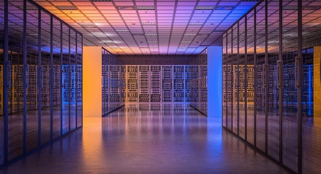 L'immagine 3d rende di una stanza moderna del server di database.