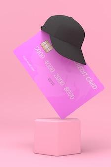 L'immagine del cappello con una carta di credito è un display per la pubblicità di prodotti in vari festival.