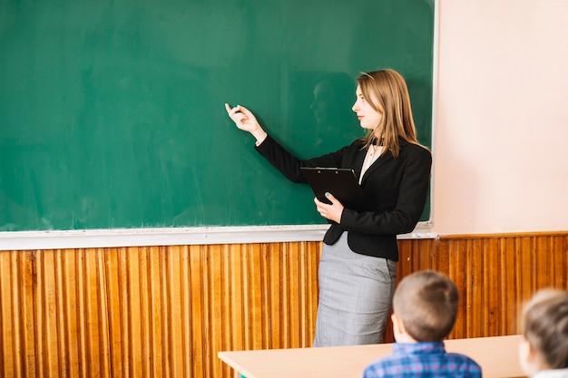 L'insegnante spiega agli alunni