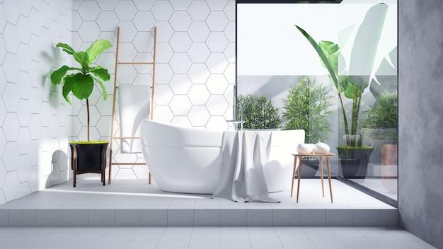 L'interior design moderno del bagno, la vasca bianca sopra sulla parete di piastrelle bianca e la piastrella per pavimento concreta, 3d rendono