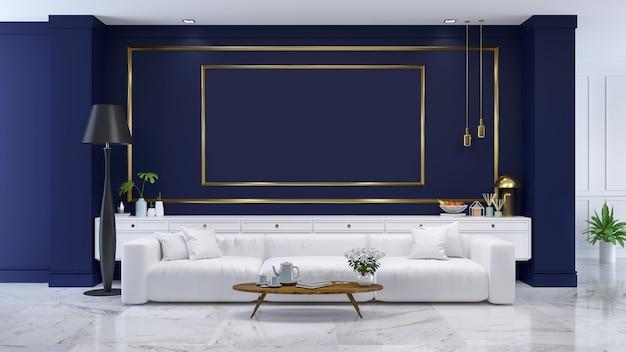 L'interiore moderno della stanza blu di lusso, / 3d rende