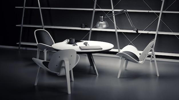 L'interno della sala scarsamente illuminata con tre sedie e un tavolo è realizzato in un moderno stile aziendale.