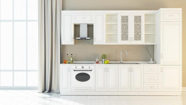 L'interno luminoso della cucina 3d rende