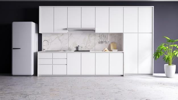 L'interno moderno della stanza bianca della cucina 3d rende