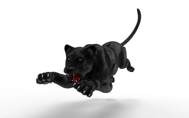 L'isolato della pantera nera su fondo bianco, la tigre nera, l'illustrazione 3d, 3d rende